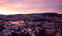 December afternoon, Trondheim (aaberg) Tags: pink winter sunset snow norway clouds river landscape evening norge vinter nikon north norwegen trondheim srtrndelag sn nidelva solnedgang nidarosdomen trndelag d40