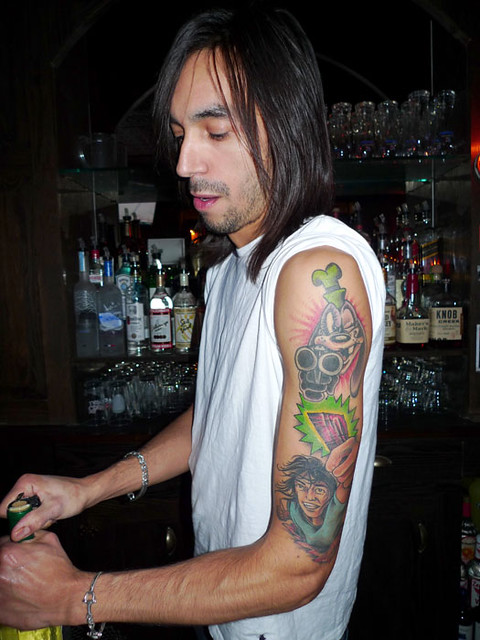 Bam's tattoos. Toby's Public House: Brooklyn NY: Deecember 13, 2008.