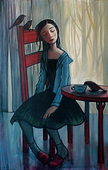 Tea (verpabunny) Tags: original art girl birds forest painting tea redchair kellyvivanco