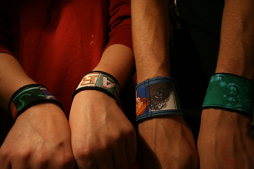 wearing the photo cuff bracelets