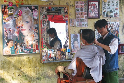 Stylish sidewalk barbershop, Nimh Binh, Vietnam