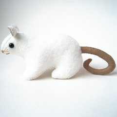 Wesley the White Rat Plush (girlsavage) Tags: cute art animal toys stuffed science plush whiskers softie etsy geekery beadyeyes softsculpture whiterat girlsavage taupebrowntail