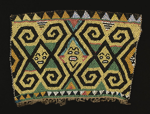 //Bead Panel// from a baby carrier, Basap people. Borneo 19th century, 27 x 19 cm. From the Teo Family collection, Kuching. Photograph by D Dunlop.