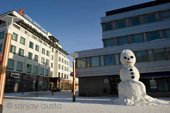 Streets of Rovaniemi and the snowman, Lapland