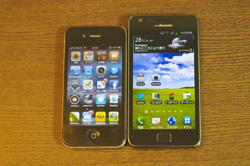 GALAXY S II と iphone 4 を比較