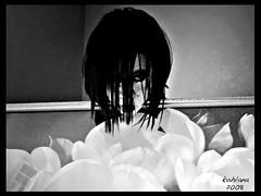 Dark Story (sunnykay1) Tags: life people blackandwhite white black flower eye girl dark painting interestingness hurt women image personal emo evil story mean