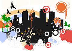 Cityscape (Mr_Giobinsky) Tags: colors birds illustration buildings pattern cityscape graphic drawing circles shapes vector ilustracin