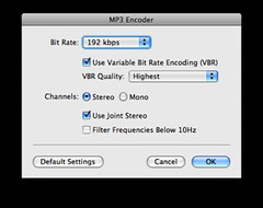 My preferred settings for MP3 conversions in Garageband
