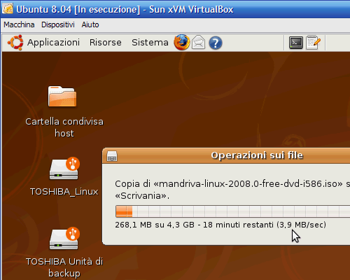 Fig. 10 - VirtualBox - velocita trasferimento file a controller USB 2.0 abilitato