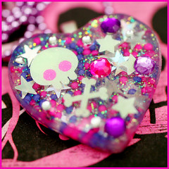 Candy Raver Skull (stOOpidgErL) Tags: pink cute glitter skull diy necklace yummy purple candy heart sweet handmade craft jewelry plastic sprinkles kawaii resin rhinestones crossbones pendant stoopidgerl