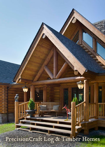 Front entry of Custom Log Home | Exterior View | PrecisionCraft Log Homes,modern,house,design