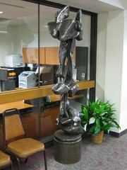 "Title: ""Levitation""Sculptor:Raymond I. JacobsonAccessible to Public:  Yes, indoorsLocation: Wells Fargo Bank LobbyOwnership: Wells Fargo BankMedium: Forged and Welded SteelDimension: 7 feet highProvenance: Commissioned by Norwest BankYear of Installation: 1990Physical Condition: Good"