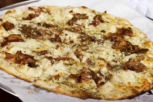 bacon, mashed potatoes, garlic pizza