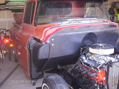 Andrew's '58 (jchav62) Tags: red orange hot chevrolet car truck project apache air smooth pickup tire front 420 clip chevy chrome 1958 rod shows trucks projects bling cleaner sbc v8 carshow headers firewall 58 3100 327