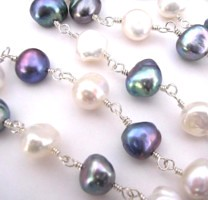 A timeless combination of peacock and white freshwater pearls - limited edition