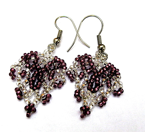 Purple and Silver Beadwoven Earrings