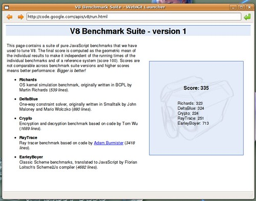 335 points pour Webkit au v8 benchmark