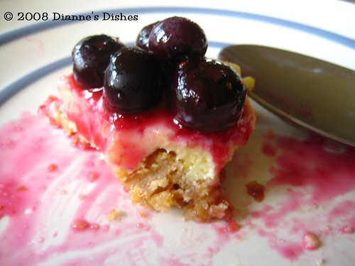 Lemon Custard Bars with Blueberry Sauce: A Bite