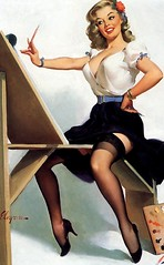 Easel (Mr. Wilson's Rules) Tags: stockings highheels skirt bracelets lipstick busty buxom 38d