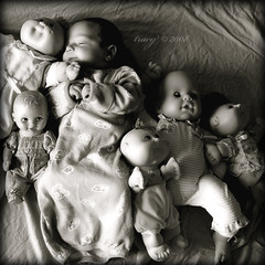 my favorite baby doll (xtheowl) Tags: portrait blackandwhite baby d50 infant dolls 2008 squared ziggy 5weeks2days