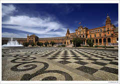 5 Postcards from Sevilla... and 5th one: 'La Plaza de Espaa' ('Spain square') (B'Rob) Tags: city travel blue light sky espaa streetart color building tower art tourism water true azul architecture photography lights photo yahoo starwars google sevilla spain nikon flickr torre symbol edificio picture tourist colores seville best explore most cielo wikipedia eden 1224mm mejor tradicin d300 guerradelasgalaxias brob explored gettyimagesspainq1 brobphoto
