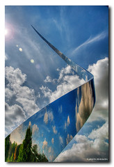 Ascent (Jersey JJ) Tags: sky sculpture cloud reflection museum mirror smithsonian dulles nikon space air hazy chantilly ascent ascend udvarhazy udvar d300 blueribbonwinner photomatix tonemap ilfc