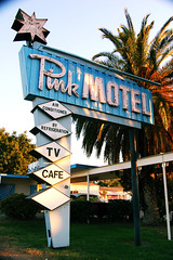 Pink Motel (dogwelder) Tags: california pink blue sun october neon valley zurbulon6 2008 motelsign zurbulon gatturphy