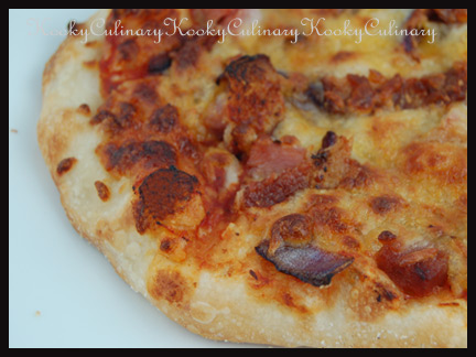 Caramelized Onion, Bacon & Ham Pizza