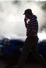 Smoking man, smoking Subaru (Zomboracz Ivan) Tags: people car smoke subaru impreza wrx sti f28 sportcar d80 wreckedexotic automotivejournalism