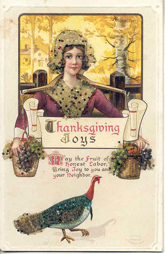 Vintage Thanksgiving postcard Sequins