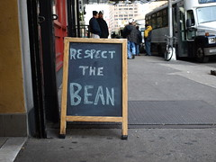 respect the bean (vvvanessa) Tags: newyorkcity coffee sign manhattan midtown sidewalk chalkboard streetshot cupcakecafe respectthebean