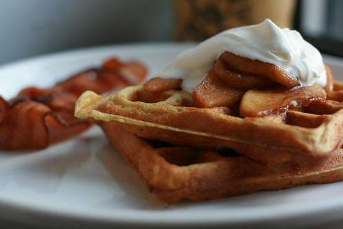waffles with cinnamon apples