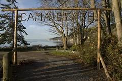 Cama Beach Sign (Maida Mac) Tags: ocean water sign sticks log logs pugetsound splash plop camanoisland camabeach melissacain camabeachstatepark