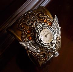 Steampunk Cuff Watch (ladyaranwen) Tags: silver wings watch bracelet cuff brass steampunk watchface