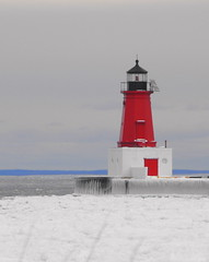 Iced Light House on the Bay (**Ms Judi**) Tags: door blue winter red sky lighthouse white snow black cold ice window water beautiful up bay frozen midwest view michigan calm reddoor serene iced lovely 1001nights redwhiteandblue menominee brrrrrrrrrr msjudi theunforgettablepictures menomineelighthouse judistevenson