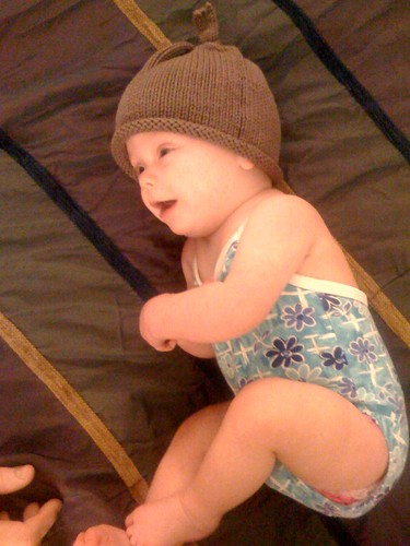 Hallie and hat, ready for the pool in February