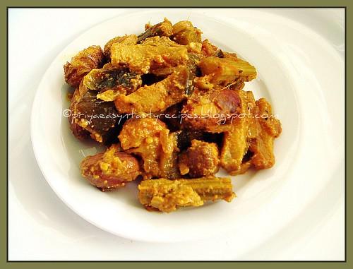 Brinjal, Drumsticks & Jackfruit seed Poriyal