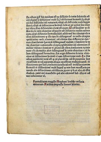 Colophon in Brulefer, Stephanus: Formalitates in doctrinam Scoti