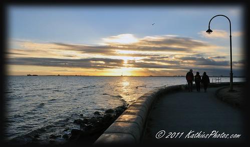 A walk along the shore at sunset