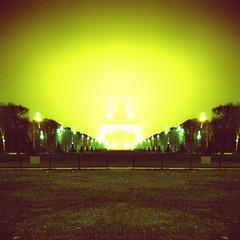 The Vanishing Eiffel Tower (Simple Dolphin) Tags: longexposure light mist paris green tower film fog night mediumformat square holga lomo xpro lomography fuji eiffel crossprocessing toureiffel vanishing vanish rdp