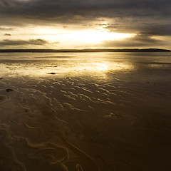 Golden Brown (BarneyF) Tags: sunset sky reflection beach water river sand estuary redrocks dee wirral merseyside hoylake hilbreisland mywinners shieldofexcellence superbmasterpiece