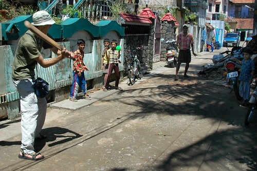 Cricket Lessons on a Back Alley in Fort Cochin (Kochi), India