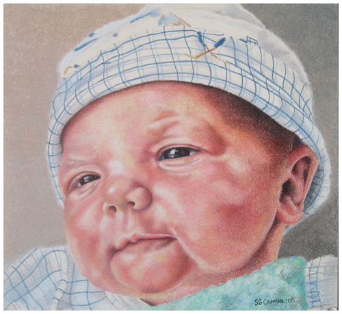 Colored pencil drawing entitled Emre, Newborn
