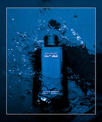 Cool Water (mock advert) (Bald Monk) Tags: blue robert water photography cool photographer bald monk rob splash pour homme aftershave davidoff tunstall strobist objectsglass