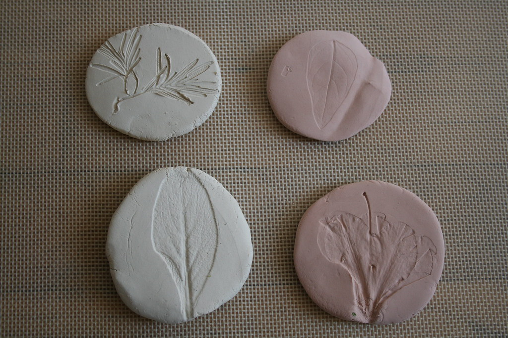 Air Dry Clay Project Ideas http://freemotion-kate.blogspot.com/2008/04/nature-impressions.html