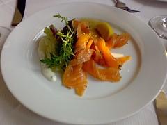 Homecured organic salmon gravadlax at The Shore restaurant, Leith, Edinburgh