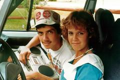 Julie and Boyfriend, 1984 (StevenM_61) Tags: car julie florida 1984 1980s coralsprings teenagegirl teenageboy cassetteradioplayer