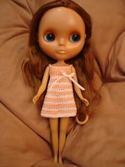 white/peach crochet dress