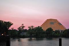 Ziggurat Sunset From the Bridge (lkylindy) Tags: california ca light sunset west june river evening twilight nikon pyramid dusk sacramento 2008 ziggurat gloaming d40 supershot