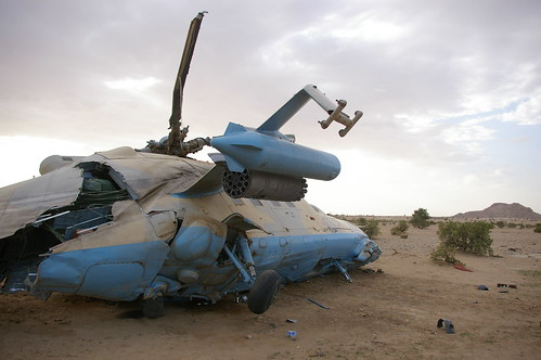 Crashed Chadian helicopter